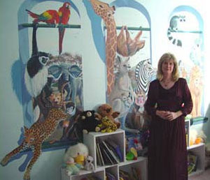 Original painted wall mural of over 30 animals.