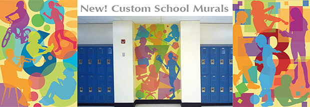 Scool Murals. Custom murals designed for school or select from these three designs for middle school. Bright and modern computer graphics by Trisha Selgrath.