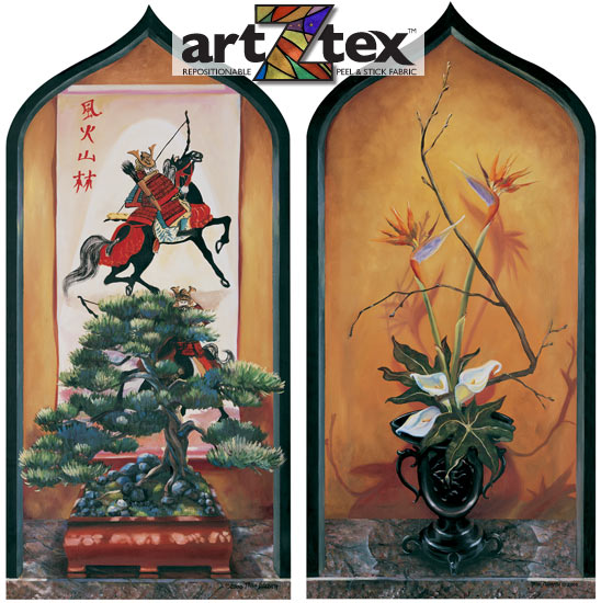 Two elegant  niches trimmed in black feature bonsai and an ikebana arrangement with callalillies and birds of paradise. Four faux tile have Chinese symbols for wind, forest, mountain and rain.