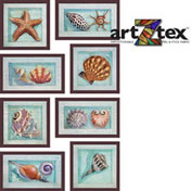 Sea Shell are intricately painted and arranged in faux frames.