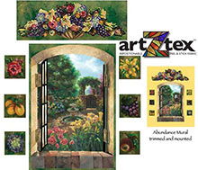 Abundance Mural features fruit and flowers surrounding a shady coutyard fountain.