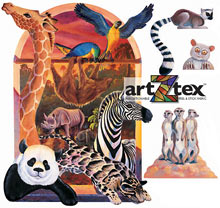 Animal Diversity with Zebra, Panda, Giraffe, Lemur, Parrots and much more on artZtex fabric.