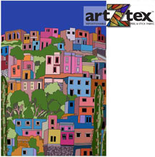 Full of whimsy and colorfully painted homes on a hill, this Colorful View wall mural will add happiness to a room.