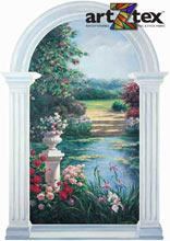 Garden View Mural depicts a beautiful Monet like view from a large, arched window.