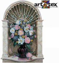 The Marble Shell Niche is a beautifully painted deoiction of a vase of flowers in a carved marble niche.
