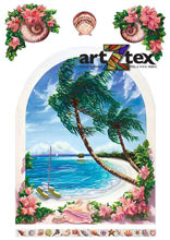 Palm trees, white sandy beaches, turquoise water, sailboats, bouganvilla and sea shells are depicted in this arched window mural.