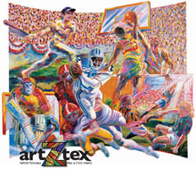 Team Sports Mural depicts baseball, football, soccer, basketball and hockey, die-cut on paper.