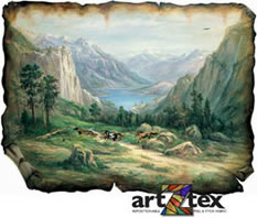 The American West Mural depicts horses running through the rugged west surrounded by mountains.