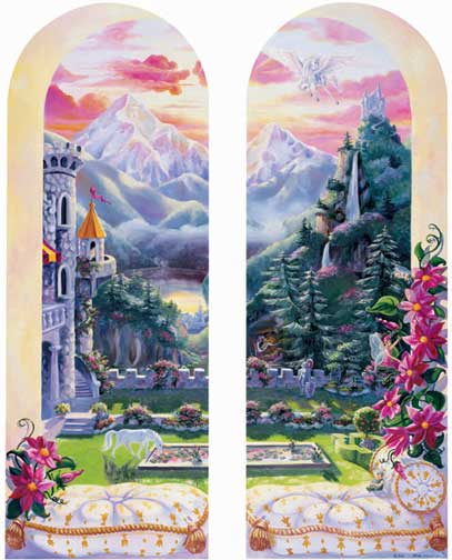 Princess castle windows wall murals with fairies unicorn for Castle window mural